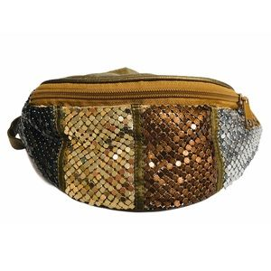 Vtg Y2K Chainmail Colorblock Fanny Pack Metallic